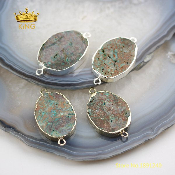 10pcs Oval Slab Ocean Stones Connectors for Bracelet,Gold/Silver Plated Bails Natural Gems Slice Charms Crafts Necklace DSS145