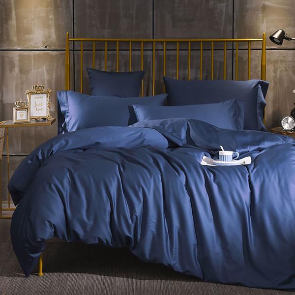 Plain Purple Pink Orange Grey Blue Bedding Set Queen King Size High Quality Percale Cotton Duvet Cover Bed Sheets Pillowcase