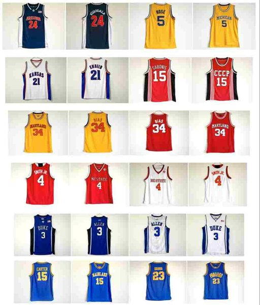 High School College Basketball Jersey 15 Vince Carter 23 OBAMA 3 Grayson Allen 4 smith jr 34 BIAS Joel 21 Embiid 15 Sabonis Iguodala 5 Rose