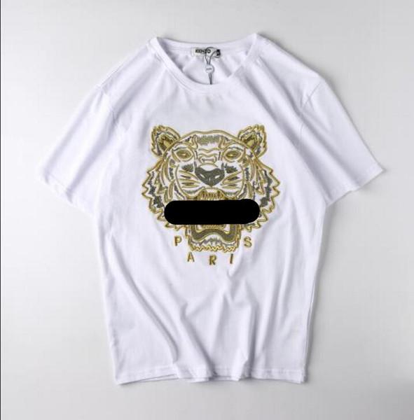 Nova venda quente das mulheres T-shirt dos homens moda rua de manga curta Tports curto padrão de cabeça de tigre animal mangas