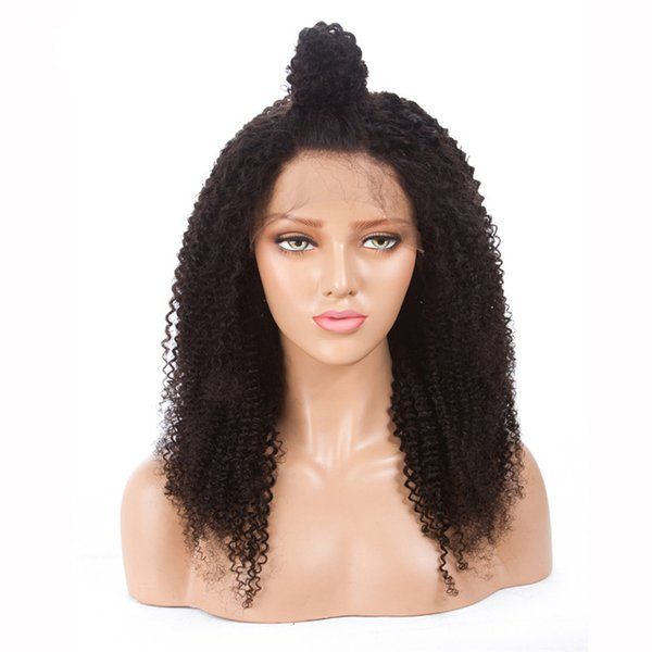 FREE SHIPPING Wholesale Brazilian virgin 8-26inch Afro Kinky Curly human hair full lace wig lace front wigs
