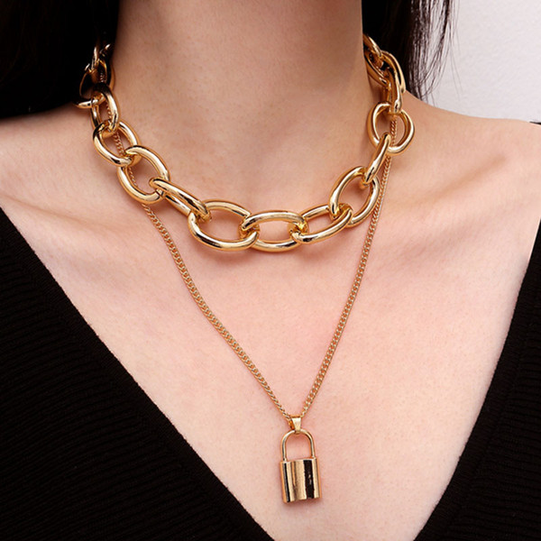 Gothletic Gold Color Multilayer Chunky Link Chain Choker Lock Necklaces & Pendants Women Jewelry 2019 NEW Valentine's Day Gift