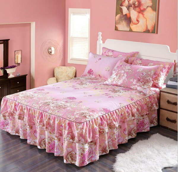 Korean Flower Print Bed Skirt Home Decoration Ruffle Princess Bedding Bed Sheet Pillowcases Girls Bedspread 1.2/1.5 M Mattress