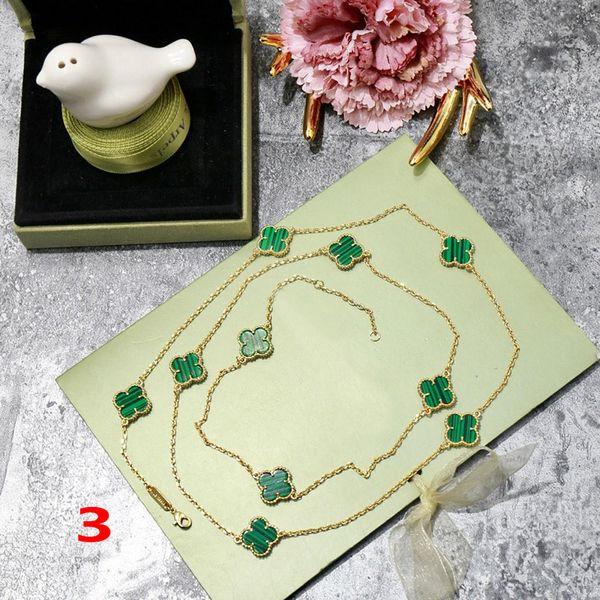 Moda quadrifoglio oro blu ottone Collana con ciondolo dieci fiori per donna Regalo degli amanti Giorno classico marchio di gioielli firmati per donna