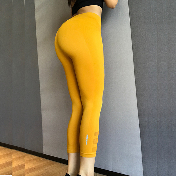 Fashion Sports Yoga Bottoming Pants Fitness Running Leggings High Stretch Seven Points Feet Handsome