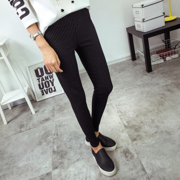 Bivigaos New Womens Vertical Stripes Dünne Bleistifthosen Dünne Hosen mit hoher Taille Elastic Woven Leggings Hosen Damen Schwarz Weiß