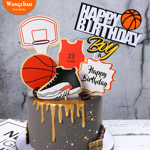 1set Basketball Soccer Sports Theme Decoration Boys Cake Decoration Happy Birthday Cake Topper 4 Designs available