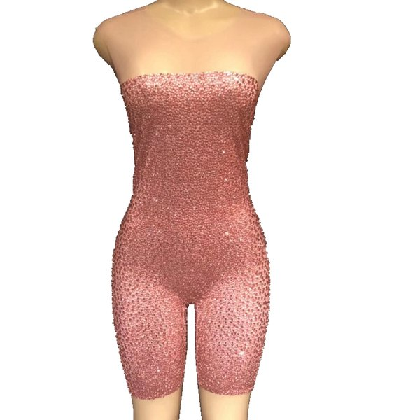 Sexy Silver Pink Rhinestones Crystal Mesh Rompers Sexy Sleeveless Stage Dance Bodysuit Outfits Birthday Celebrate Party Costume