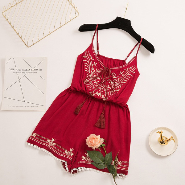 2019 Summer Rompers Casual Shorts Womens Jumpsuit Floral Embroidery Short Playsuits Sexy V-Neck Sling Female Bodysuits