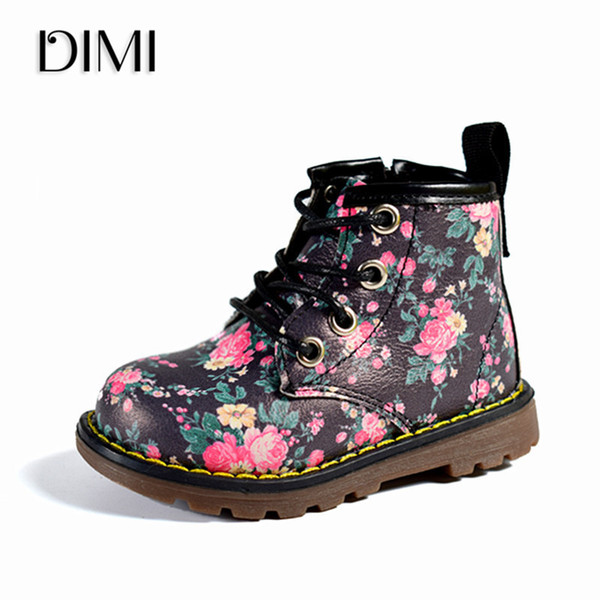 DIMI 2018 New Girls Boots Elegant Floral Flower Print Casual Chilren Girl Rubber Boots Cute Fashion Baby Boot Ankle Martin Shoes