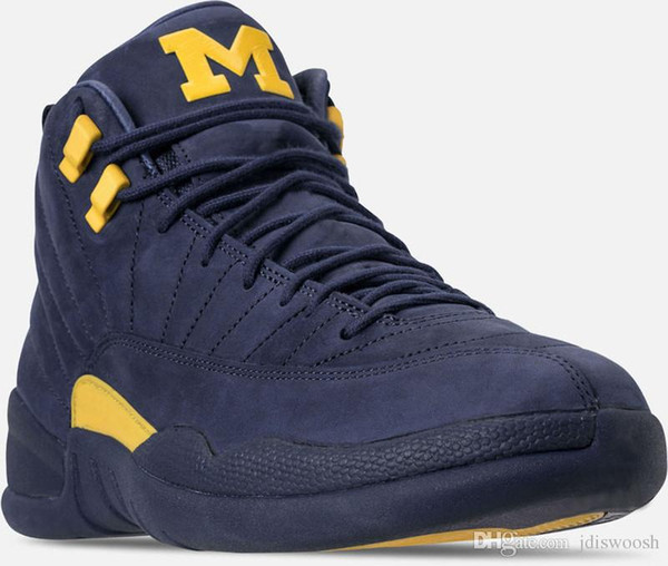 2018 Hottest 12 RTR MICHIGAN NRG MICHIGAN x PSNY 12S Basketball Shoes For Men Authentic Real Carbon Fiber Sneakers With Box BQ3180-407