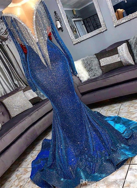 2019 Sparkly Blue Mermaid Evening Prom Dress Sexy Reflective Off Shoulder Tassels Long Formal Party Gown BC1367