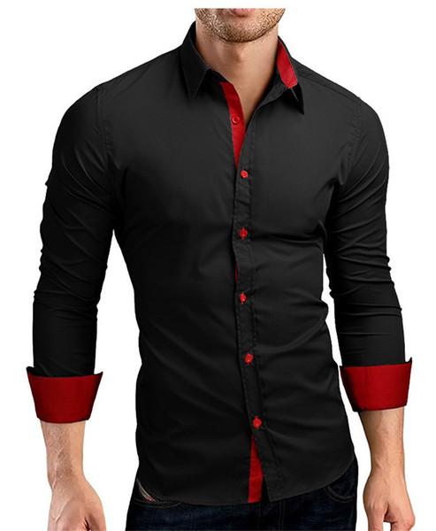 Alta Men Qualidade do masculino longos da luva Casual cor hit Slim Fit preto do vestido do homem camisas