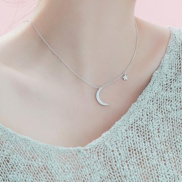 Corea S925 estrella de plata collar de media luna cadena de clavícula japonesa y coreana temperamento femenino simple conjunto diamante joyería de plata