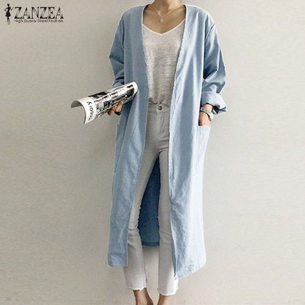 S 5XL ZANZEA Spring Solid Open Stich Coat Vinatge Cotton Linen Pockets Jackets 2019 Women Casual Long Sleeve Long Cardigans