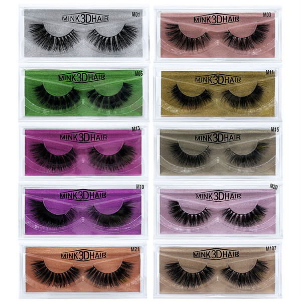 3D Mink Lashes Reusable Strip, 100% Siberian Mink Fur False Eyelashes Hand-made Natural Style Cruelty Free 1 Pair Eye Lash Package