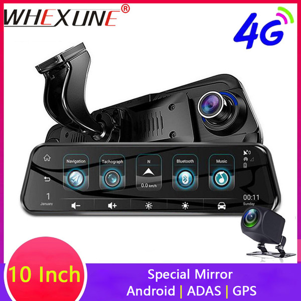 "whexune 10"" 4g car dvr streaming android special touch rearview mirror fhd 1080p dual dash cam camera adas wifi gps registrar"