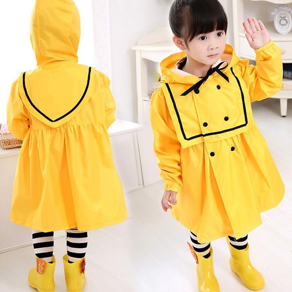 Kids Children's Raincoat Rain Coat Poncho Jackets Rainsuit Outdoor Rainwear For Children Girl's Polyester Yellow Red Rain Poncho