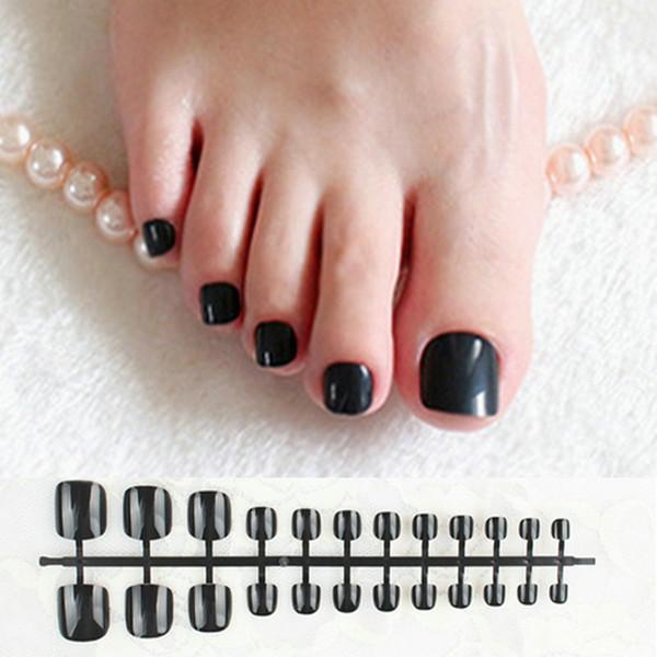 Klassische schwarze Presse auf Nagel-Fuß-Quadrat-glattes kurzes gefälschtes Zehen-Nagel-Natur-Acrylnagel-falsches künstliches ohne Kleber