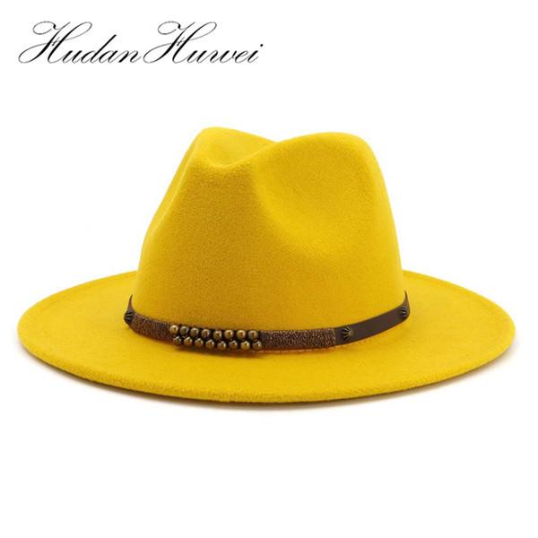 Fashion Men Women Wide Brim Wool Felt Jazz Fedora Hats British style Trilby Party Formal Panama Cap Black Yellow Dress Hat LY191228