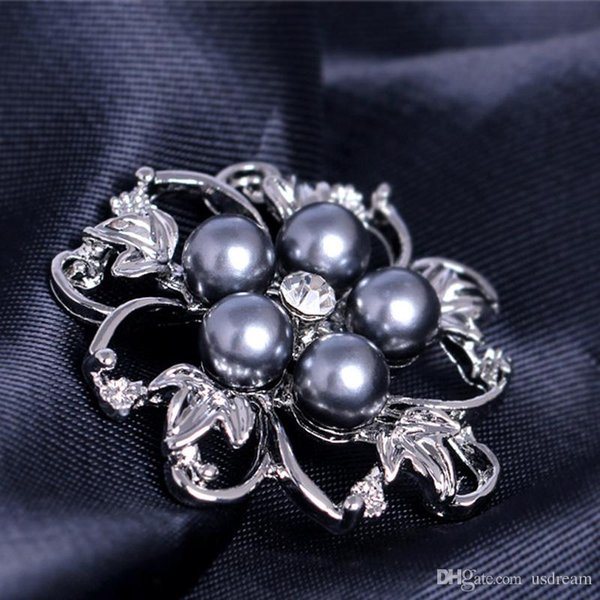 Crystal Pearl Flower Brooches Pins Corsages for Men Women Wedding Bridal Brooch Pins Silver Gold plated fashion Jewelry DROP SHIP 170282