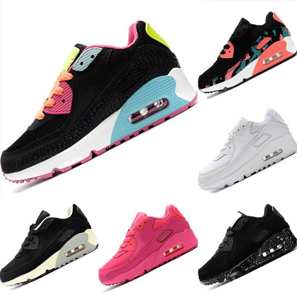 С коробкой 2019 Kids 90s кожа и сетка дышащие кроссовки 90 OG EVA встроенный зум воздуха дети амортизация спортивная обувь