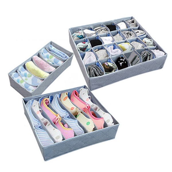 3pcs/set Simple Houseware Closet Underwear Organizer Drawer Divider Household Underwear Bra Sock Tie Storage