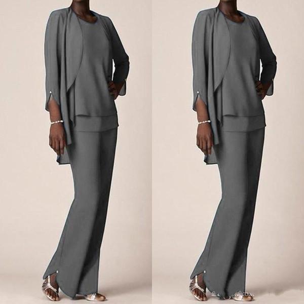 Graue Chiffon-Anzughose mit Jacken Abendgarderobe Kleider für die Brautmutter für die Bräutigammutter Kleider in Übergröße Maßanfertigung BA7404