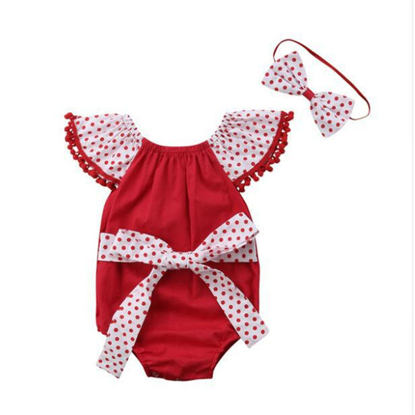 Christmas 2019 NEW Baby Girls dot bow headband+red Rompers Toddler Bodysuits Ruffles Bowknot Straps Jumpsuits Clothes Baby Clothing B14