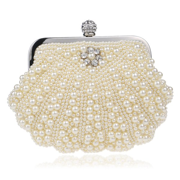 Elegant Ladies Evening Clutch Bag with Chain Pearl White Bead Shoulder Bag Women's Handbags Purse Wallets for Wedding Dinner