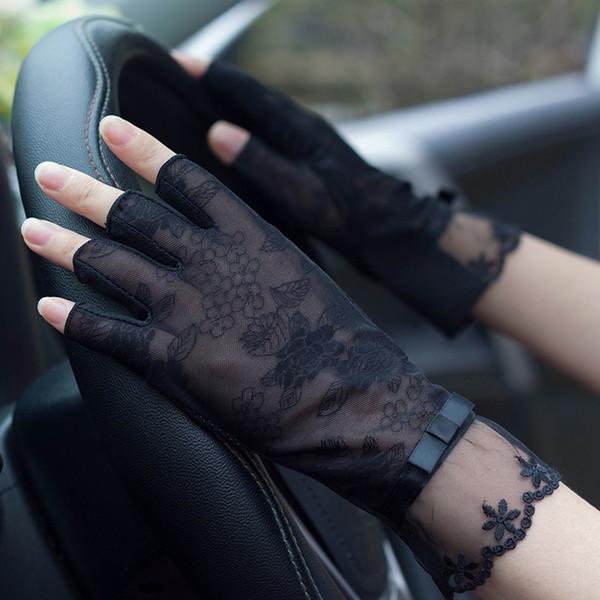 Guantes de protección solar de encaje semi-dedo Mujer Verano Seda de hielo Medio dedos Antideslizante Conducción Fina Anti-uv Moda Mujer Mitones Tb54 MX190817