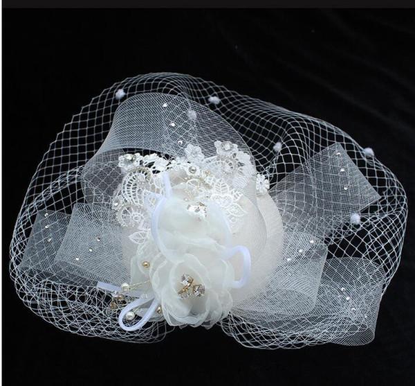 2020 nova moda casamento chapéus de noiva para senhoras lace fascinador chapéus headpieces capa máscara pérolas flor stage party mulheres acessórios