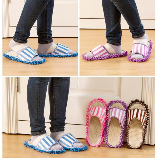 Dust Cleaner Slippers House Bathroom Microfiber Floor Cleaning Mop Detachable Floor Wipe Striped Chenille Lazy Shoes Cover