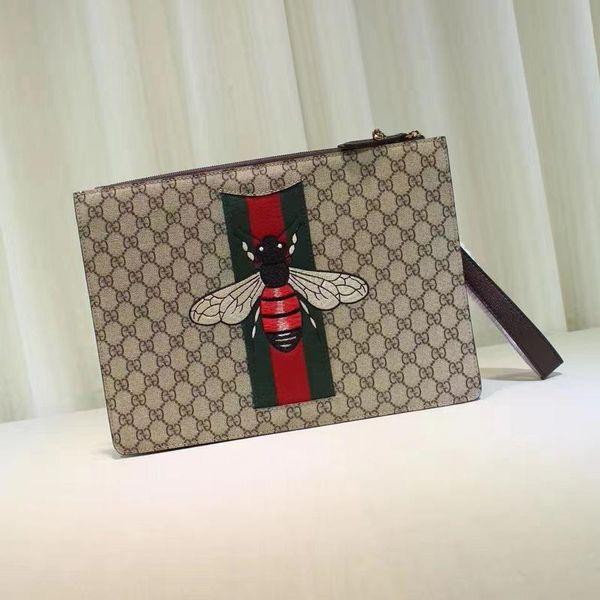 Top Qualität Luxus Promi Design Brief Präge Stickerei Biene Leinwand Große Kupplung Echtes Leder Leinwand 433665 Umhängetasche
