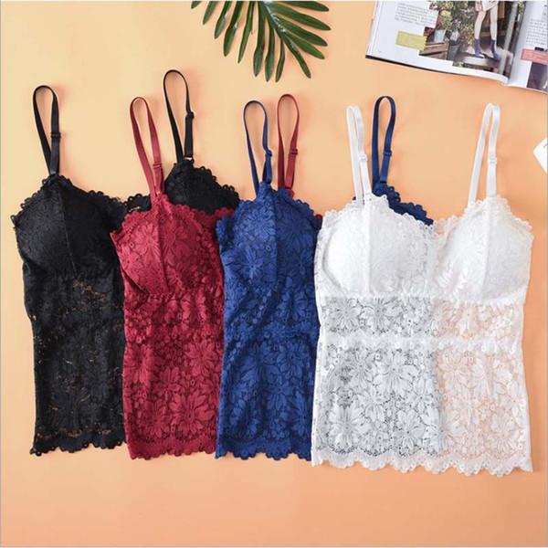 7b0c4e6820f4 Sexy Women Bra Padded Deep V Neck Floral Tube Top Tanks Wire Free Brassiere  Underwear Long Vest Sleepwear
