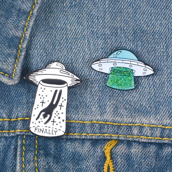 enamel airship brooch pins intelligent beings to earth ufo brooch lapel pins new designer brooch fashion jewelry gift drop ship 370193