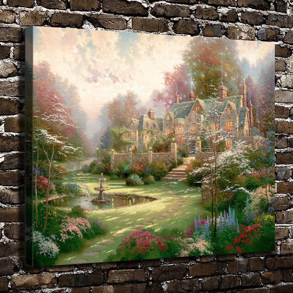 Thomas Kinkade,Gardens Beyond Spring Gate,1 Pieces Canvas Prints Wall Art Oil Painting Home Decor (Unframed/Framed)