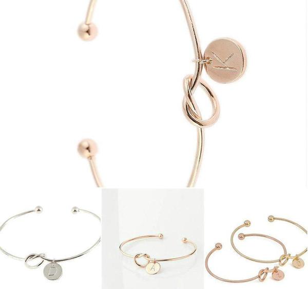 Basit Büküm Manşet 26 Mektup Gül Altın Gümüş Düğüm Kalp Bilezik Bileklik Kız Moda Takı Çinko Alaşım Yuvarlak Kolye Zincir Bağlantı bilezikler