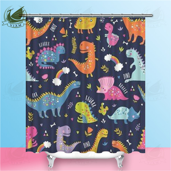 Vixm Cartoon Cute Funny Dinosaur Colorful Background Shower Curtains Green Summer Style Polyester Fabric Curtains For Home Decor