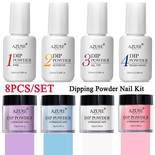 8 Pcs Prego Mergulhando Cor Glitter Dip Powder Sem Lâmpada Cura Manicure Nail Art Decoração Kit