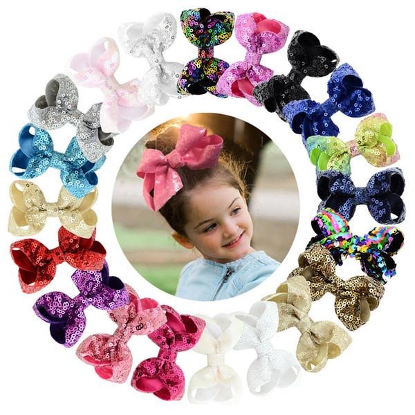 wholesale 20 colors Shiny Cute Chunky Glitter Hair Bows Flower Horn Horse Hair Clip Kids Boutique Hairgrips Headwear Hair Accessories