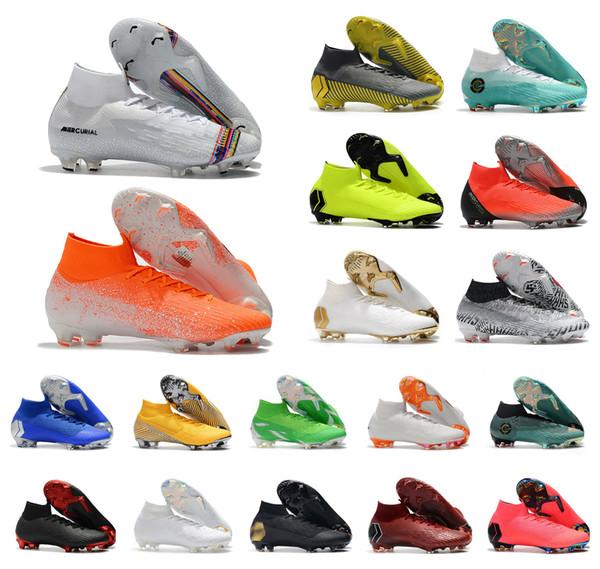 Acquista Nike Mercurial SuperflyX VI Elite CR7 2018 Mercurial Superfly VI 360 Elite FG Fly Knit Bambini Mens Calcio Tacchetti Cr7 Chaussures Crampons