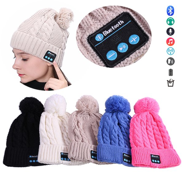 V4.1 Bluetooth Beanie Knitted Hat Wireless Handsfree Hi-Fi Stereo Sound Built-in Headphone Speaker Musical Hat Autumn Winter Knit Cap