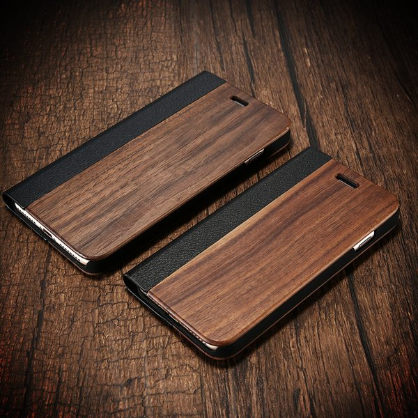 Kisscase Bamboo Flip Handyhülle für iPhone 8 7 6 6s Holzschutzhülle für iPhone 8 7 Plus X Xr Xs Max Kartenmappenhüllen T190701