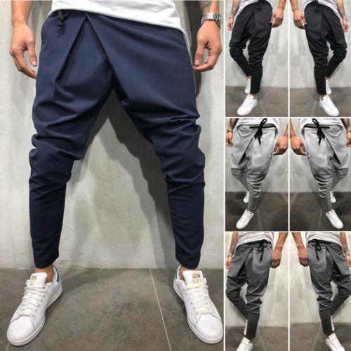 Männer lange beiläufige unregelmäßige Hosen Turnhalle dünne Hosen 2019 neue feste laufende Jogger Turnhalle lange Sweatpants M-2XL