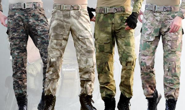 Pantalones militares de camuflaje Pantalones de hombre Pantalones tácticos del ejército Pantalones de carga de camuflaje Mens cargo holgado con rodilleras