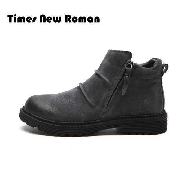 Times New Roman Winter Warm Genuine Leather Shoes Men British Style Casual Shoes Men Motorcycle Male Boots Plus size 39~46