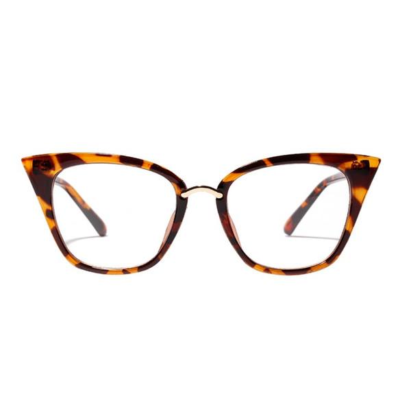 Классического Большого кадр PC объектив Elegance Повседневных очков женщины ретро очки Cat Eye Ladies Semi-металл Алмазные Очистить солнцезащитные очки UV400