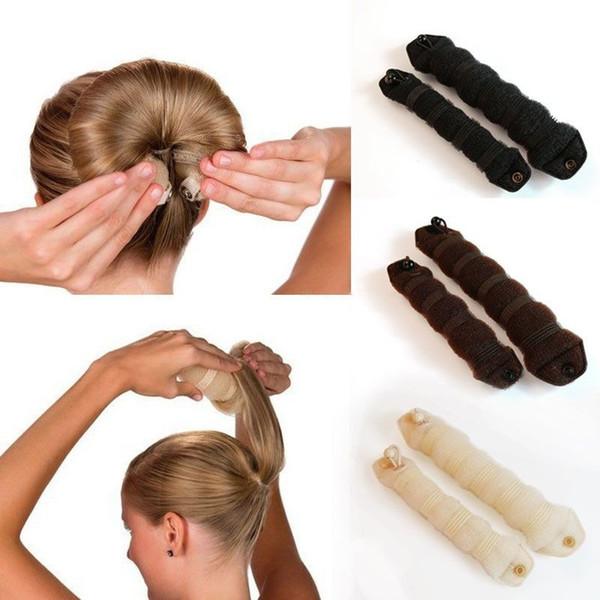 2 Teile / satz Frauen Mädchen Magie Stil Haar Styling Werkzeuge Brötchen Flechten Curling Headwear Haar Seil Band Zubehör