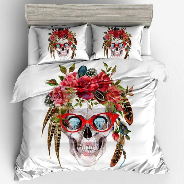 Floral Conjunto de ropa de cama de esqueleto 3 unids Diseño Creativo Lindo Funda Nórdica Fundas de Almohada Tamaño EE. UU. Twin Full Queen King